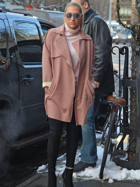 Kesha wearing a winter coat