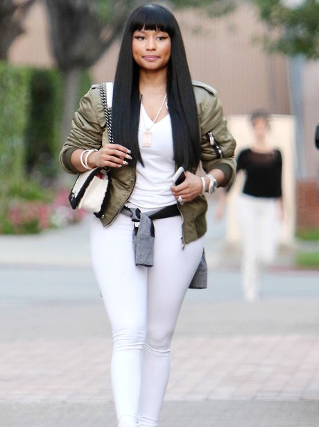 Nicki Minaj wearing a white outfit