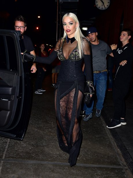 Rita Ora wearing a sheer dress