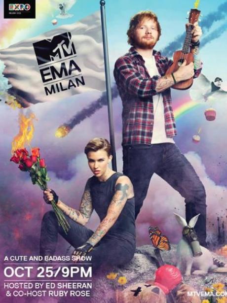 Ed Sheeran Ruby Rose MTV EMAs 2015