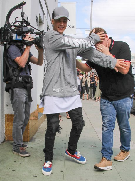 Justin Bieber and James Corden Filming