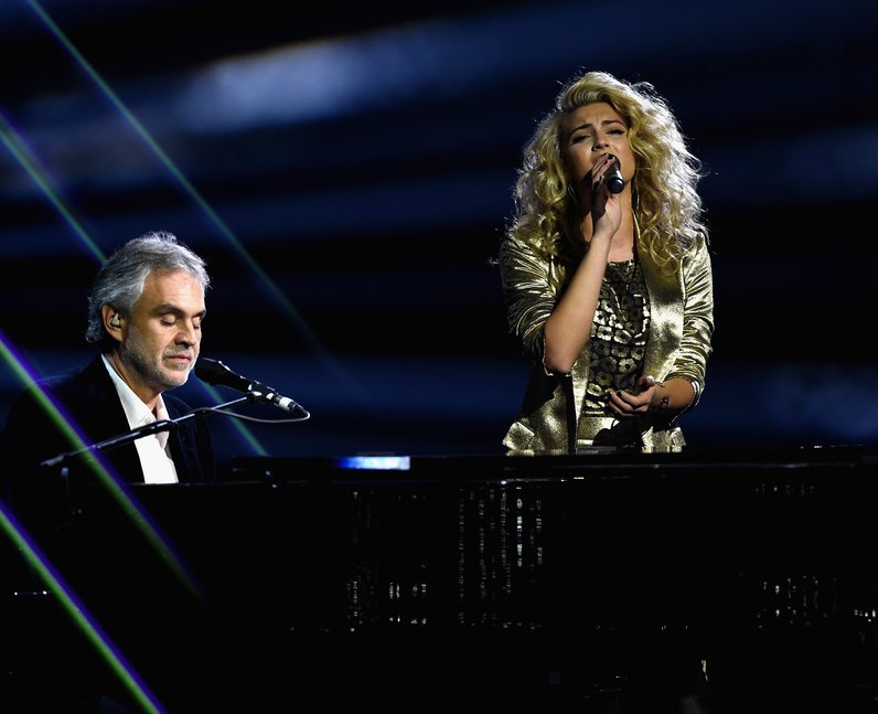 Tori Kelly performs with Andrea Bocelli MTV EMA's