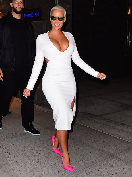 Amber Rose Revealing Dress Pink Shoes
