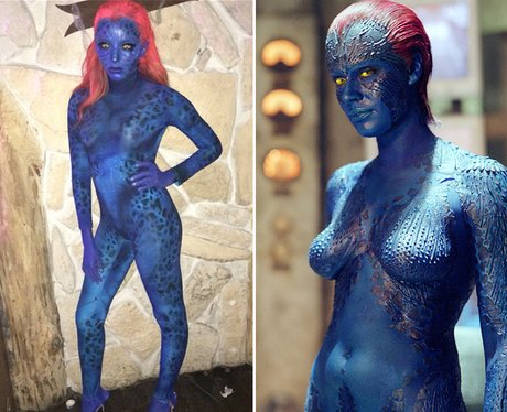 Jade Thirwall opeted for a skin tight morph suit for her Mystique costume! & Jade Thirwall opeted for a skin tight morph suit for her Mystique ...