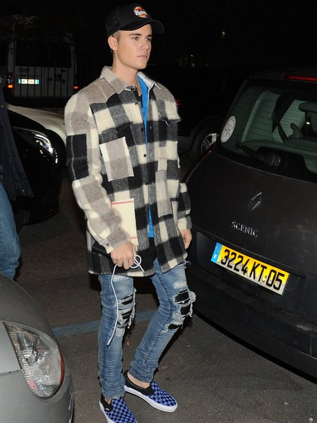 Justin Bieber wearing a checked shirt