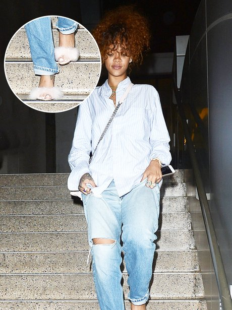 Rihanna flufy shoes