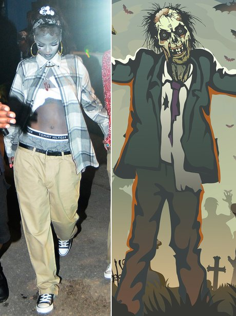 Rihanna got the body paint out to perfect her #Zombie outfit- VERY creative Riri! & 29 Incredible Celebrity Halloween Costumes: The Spookiest Outfit ...