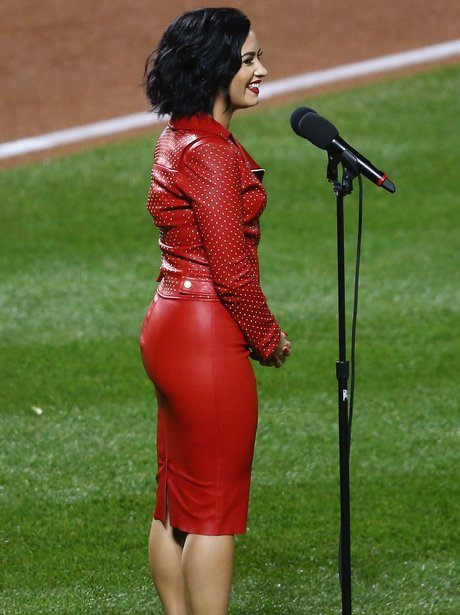 Demi Lovato performs the national anthem
