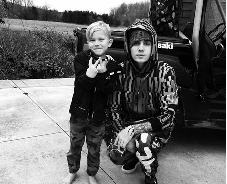 Justin Bieber and little brother