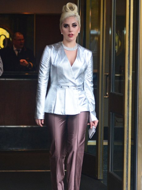 Lady Gaga wearing a metalic suit