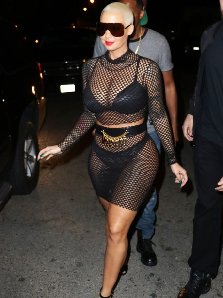 Amber Rose See-Through Outfit Fishnet