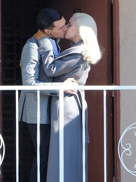 Lady Gaga American Horror Story: Hotel Kiss on set