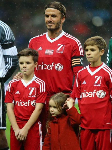 David Beckham with Cruz, Harper and Romeo