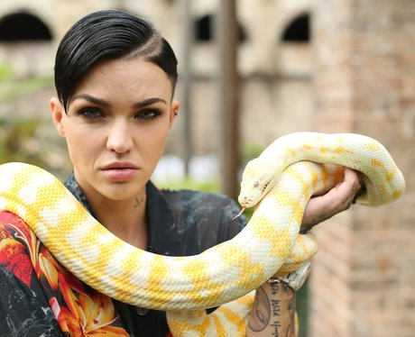 Ruby Rose poses with a snake