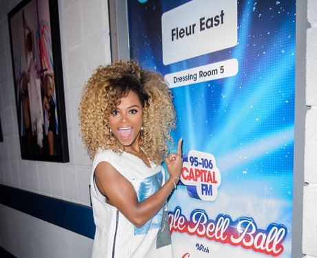 Fleur East backstage at the Jingle Bell Ball 2015
