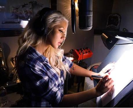 Christina Aguilera in the recording studio Instagr