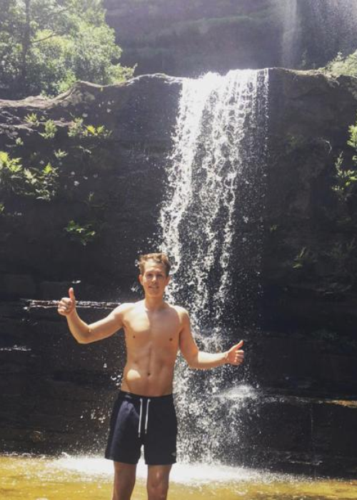 Topless by a waterfall apologise, but