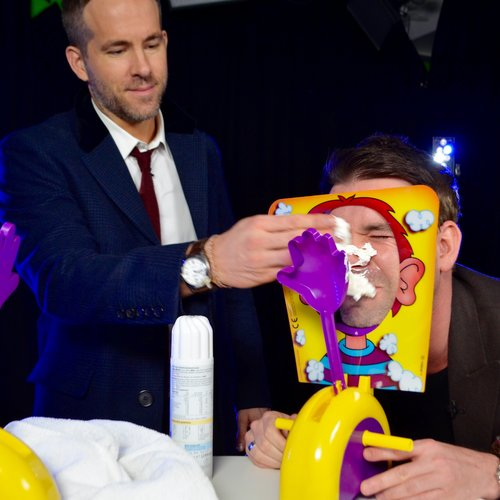 Ryan Reynolds and Dave Berry playing Celebrity Pie Face