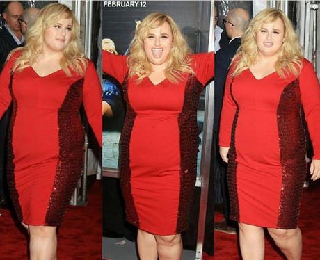 FM Rebel Wilson in red dress at How To Be Single p