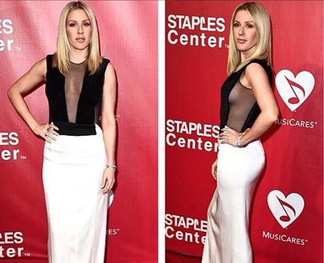 HOT HOT HOT. Ellie Goulding shows off side boob at MusiCares Gala in LA.