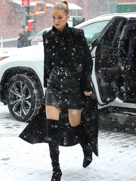Gigi Hadid wears high heels in the snow