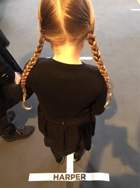And the model line up is complete! Harper Beckham takes her place for the Victoria Beckham catwalk.