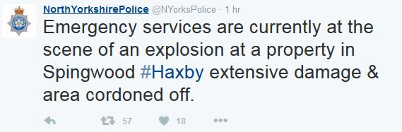 Haxby house explosion North Yorkshire Police Tweet
