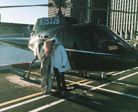 That's one way to spend Valentine's Day - Kylie Jenner and Tyga go for a helicopter ride!