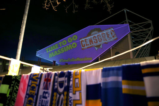 Leeds United fan stunt against owner Massimo Celli