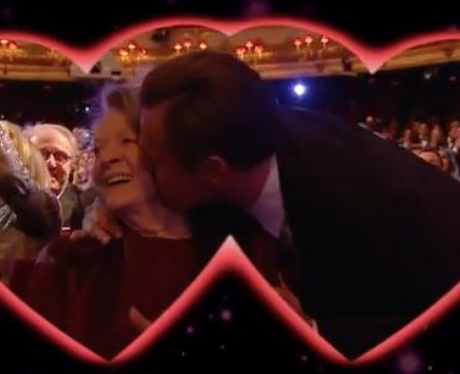SPOTTED ON THE KISS CAM: Maggie Smith and Leonardo Kiss KISS at BAFTA's 2016.