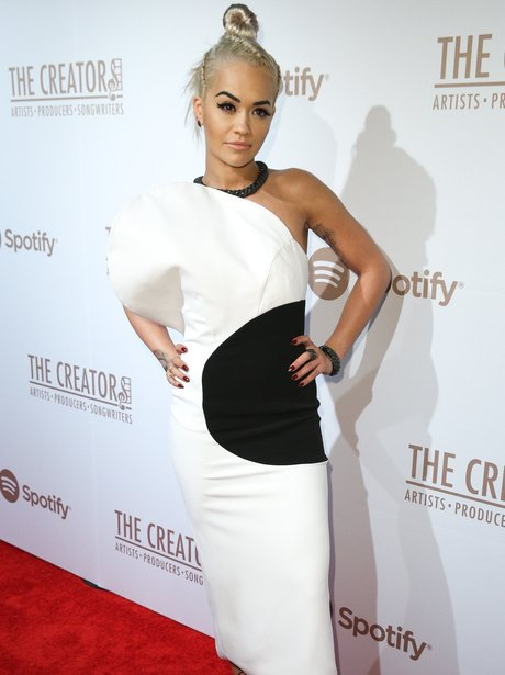 Rita Ora goes all sophisticated in black and white gown at Spotify Creators Party and looks STUNNING