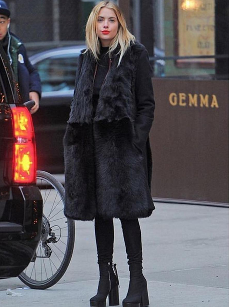 Ashley Benson stuns in all black outfit in New Yor