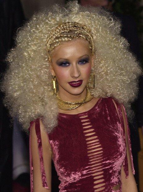 Christina Aguilera with big afro