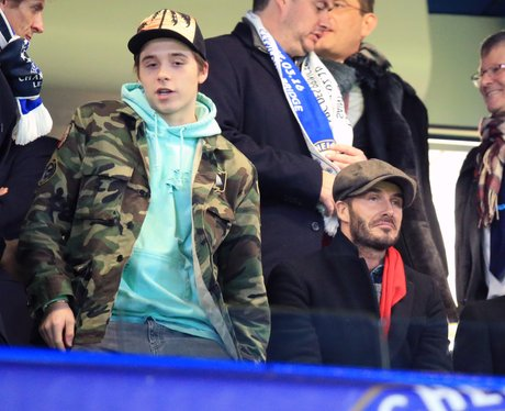 David Beckham and Brooklyn Beckham in the stands C