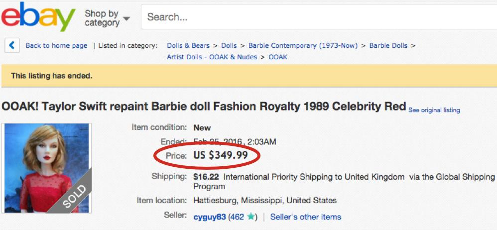 Guy Selling Taylor Swift Doll On eBay