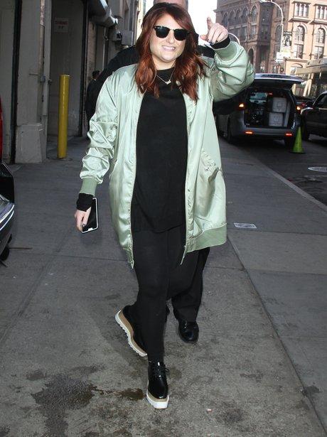 Meghan Trainor in khaki jacket