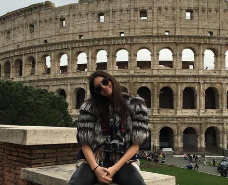 Kendall Jenner outside the Rome coliseum
