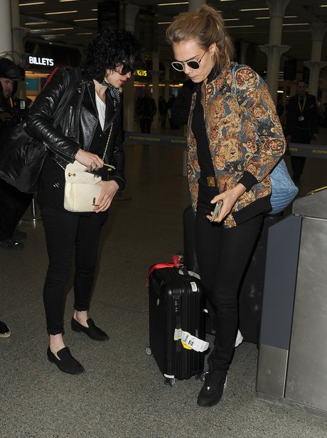 Cara Delevingne with St Vincent en route to Paris