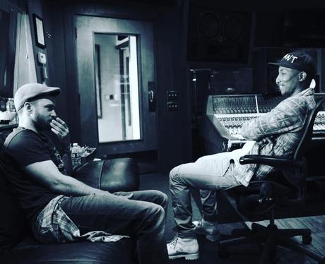 Justin Timberlake in the studio with Pharrell