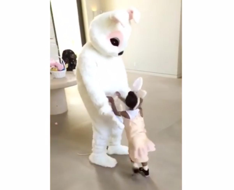 Kanye West dresses up as Easter bunny for North an
