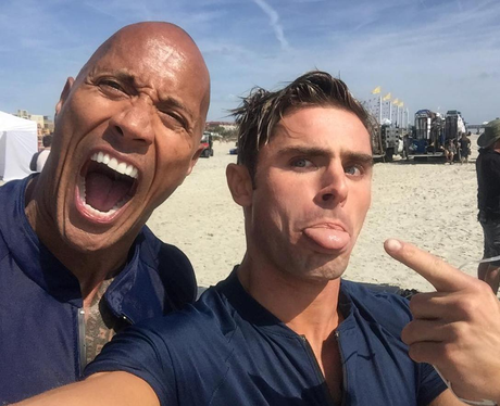 Zac Efron and The Rock on the set of Baywatch