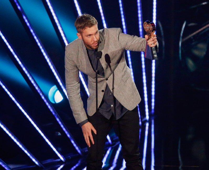 Calvin Harris on stage at iHeart Radio Awards