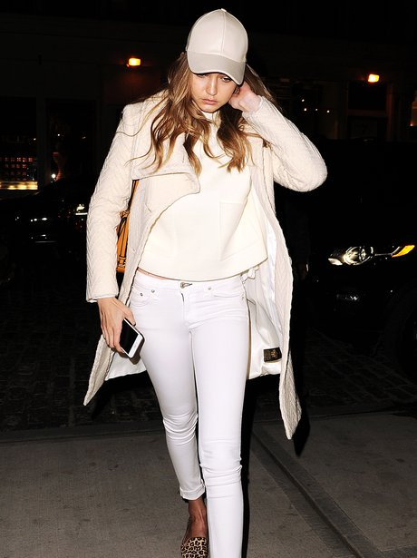 Gigi Hadid in all white outfit