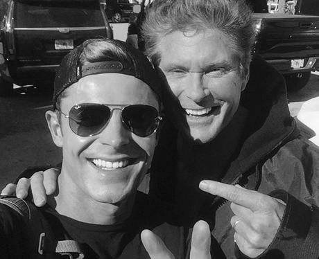 Zac Efron poses with David Hasselhoff on set of Ba