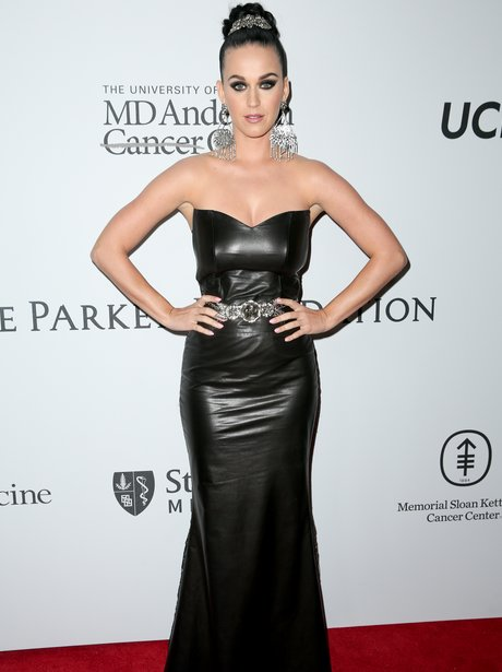 Katy Perry in black leather dress
