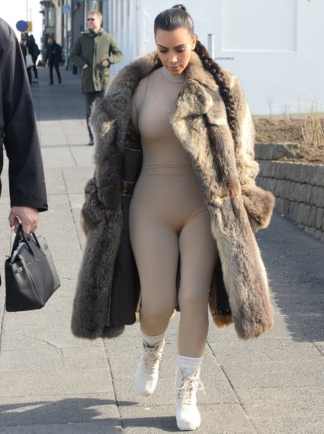 Kim Kardashian sports an interesting nude bodysuit