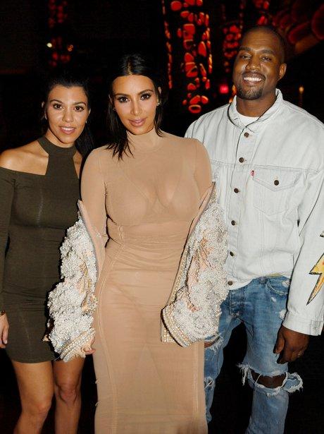 Kourtney, Kim and Kanye West at Kourtney's birthda