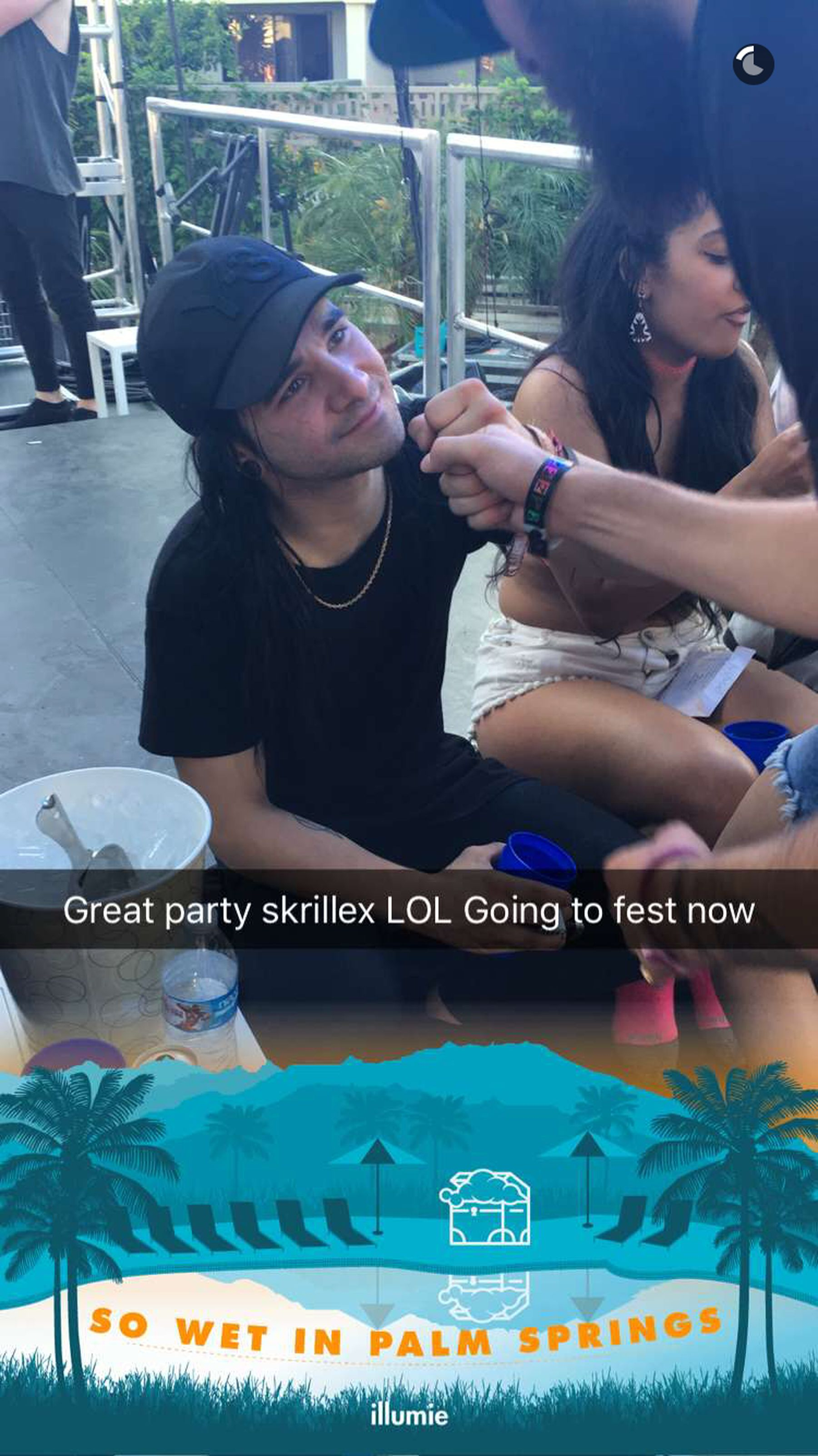 Skrillex at Coachella after his show on Troian's S