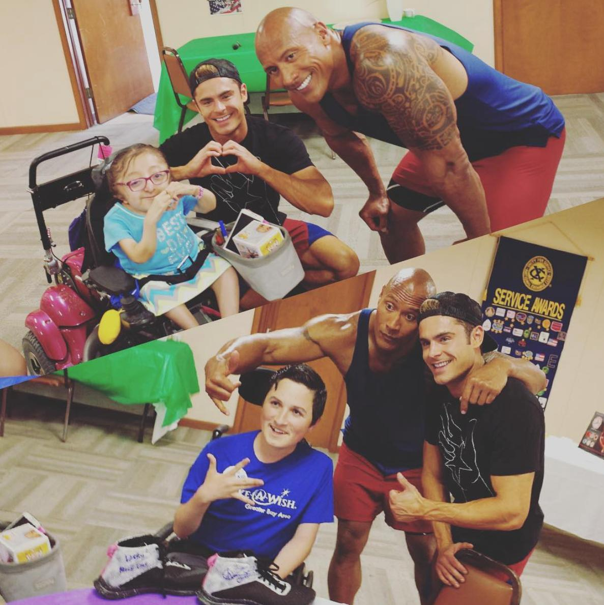 Zac Efron and The Rock head to a children's hospit