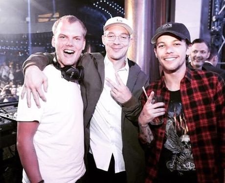 Louis Tomlinson hangs out with Diplo and Avicii